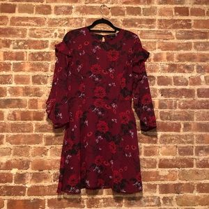 Lucky Brand floral print red long sleeve dress